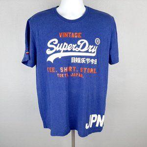Vintage Superdry Men's T-shirt Size 2XL Blue RH16